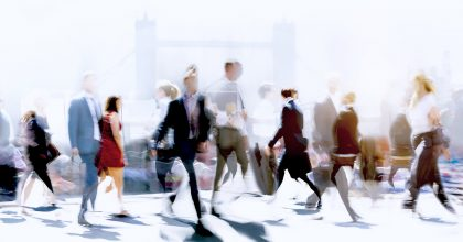 Blurry business pedestrians